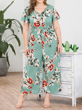 Ericdress Plus Size Ankle Length Floral Wide Legs Loose Jumpsuit