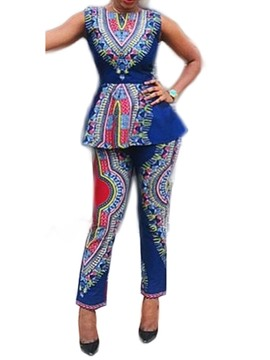 Ericdress African Fashion Dashiki Print Geometric Two Piece Sets