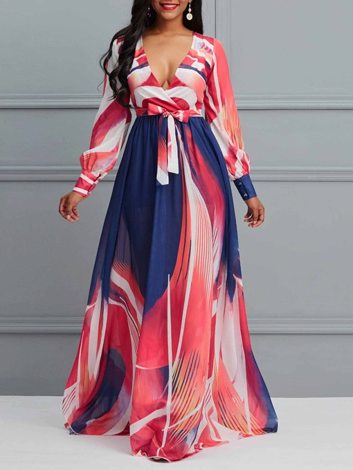Ericdress V-Neck Long Sleeve Print Expansion Color Block Dress