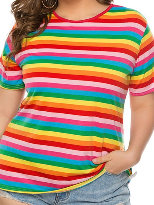 Ericdress Plus Size Stripe Mid-Length Round Neck Loose Casual T-Shirt
