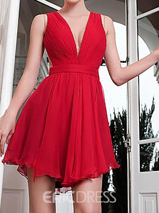 Ericdress V-Neck Asymmetry Sleeveless A-Line Homecoming Dress