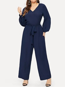 Ericdress Plus Size Plain Full Length Fashion Loose Wide Legs Jumpsuit
