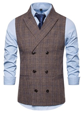 Ericdress Button Plaid Notched Lapel Men's Double-Breasted Waistcoat