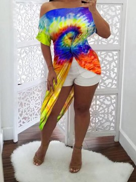 Ericdress Tie-Dye Long Three-Quarter Sleeve Off Shoulder Slim Summer T-Shirt