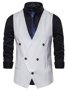 Ericdress Plain Pocket V-Neck Fashion Men's Double-Breasted Waistcoat