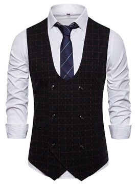 Ericdress Color Block Print Double-Breasted Men's Waistcoat