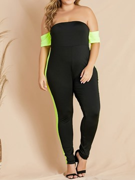 Ericdress Full Length Plus Size Color Block Skinny Jumpsuit