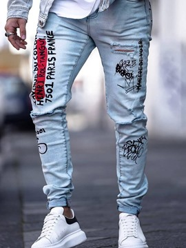 Ericdress Print Color Block Mens Zipper Jeans