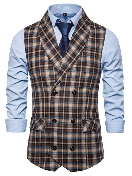 Ericdress Patchwork Color Block Double-Breasted Men's Fashion Waistcoat