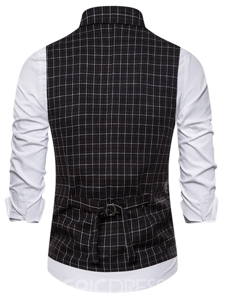 Ericdress Notched Lapel Plaid Button Men's Fashion Waistcoat