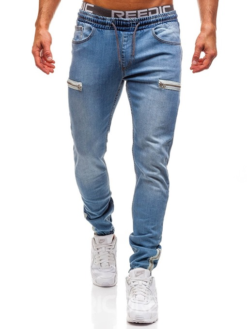 Ericdress Color Block Pocket Casual Men's Lace-Up Jeans