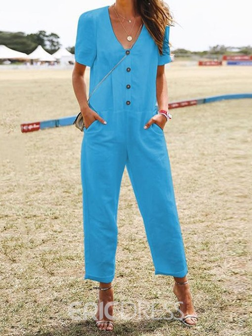 Ericdress Ankle Length Plain Button Straight Loose Jumpsuit