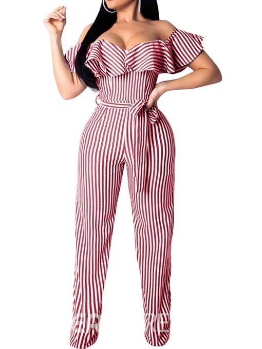 Ericdress Lace-Up Off Shoulder Stripe Full Length Loose Straight Jumpsuit