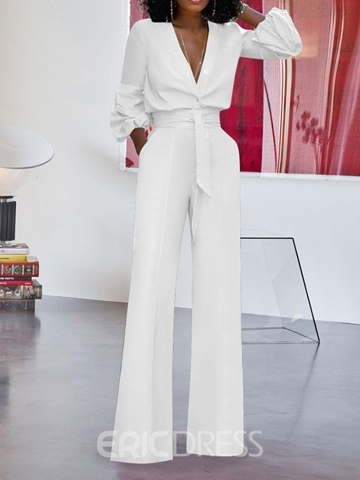Ericdress Fashion Lace-Up Plain Straight Loose Jumpsuit
