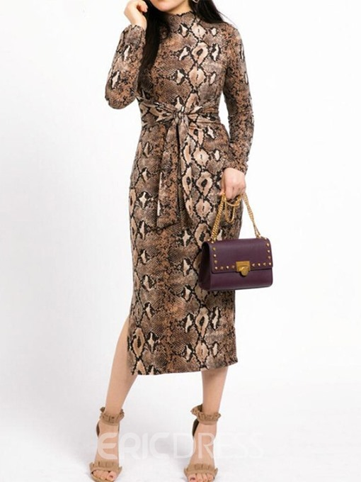 Ericdress Serpentine Long Sleeve Mid-Calf Print Spring Pullover Dress
