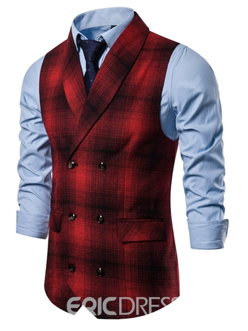 Ericdress Patchwork Color Block Men's Double-Breasted Waistcoat