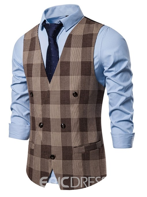 Ericdress V-Neck Color Block Pocket Men's Fashion Waistcoat