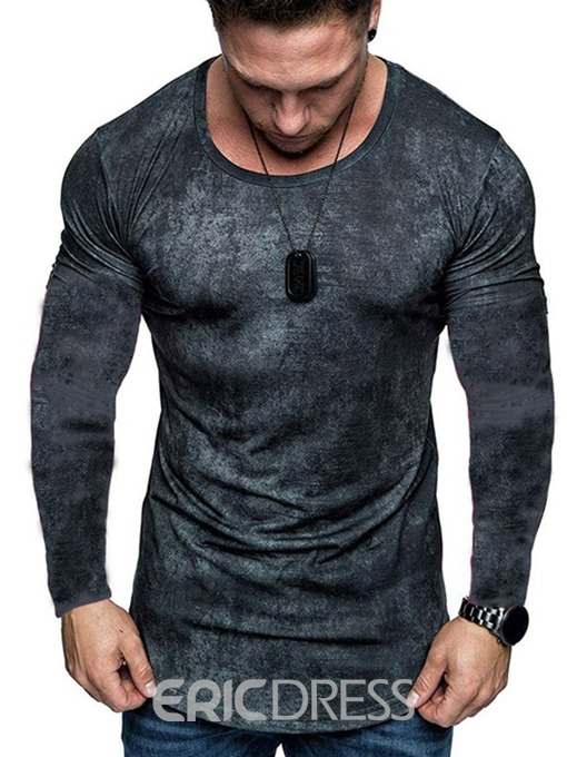 Ericdress Color Block Round Neck Casual Men's Slim T-shirt