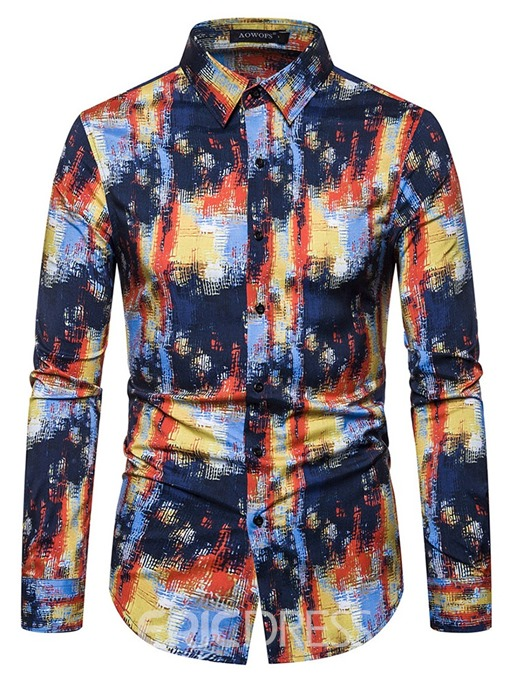 Ericdress Fashion Lapel Print Men's Single-Breasted Shirt