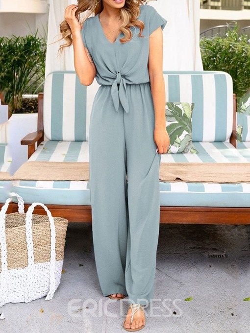 Ericdress Lace-Up Fashion Plain Loose Wide Legs Jumpsuit