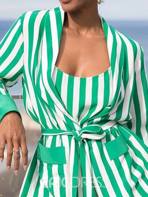 Ericdress Stripe Print Straight Lace-Up Two Piece Sets