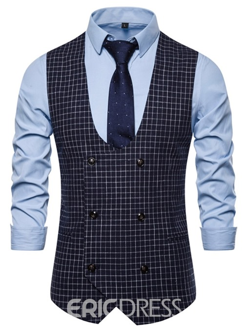 Ericdress Print Plaid Men's Double-Breasted Waistcoat