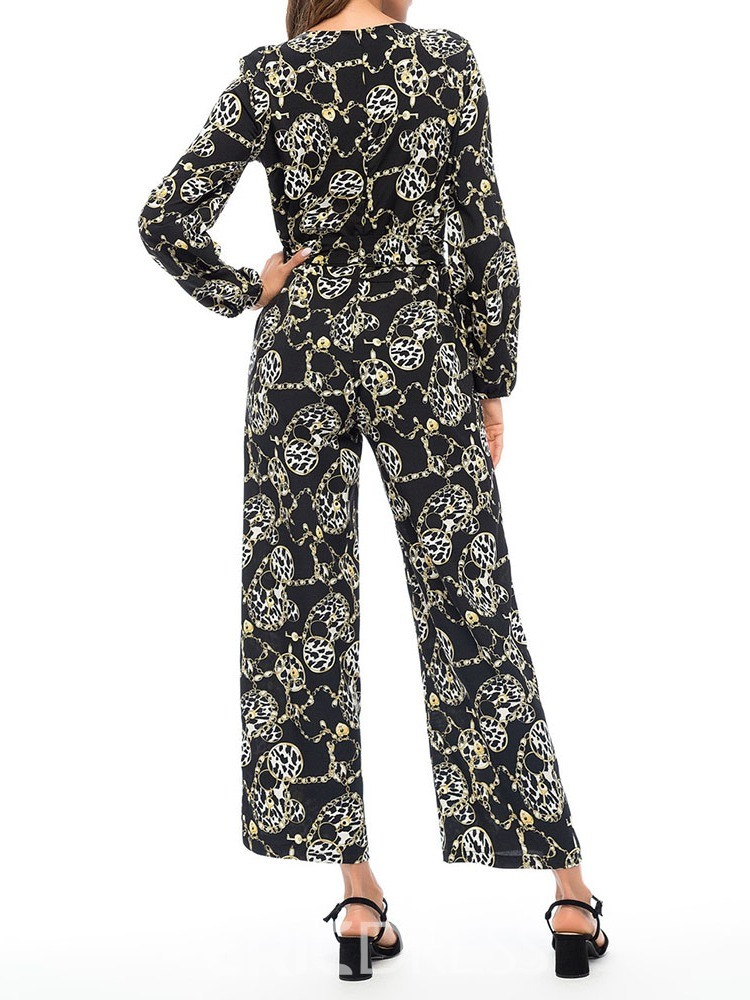 Ericdress Fashion Print Mid-Calf Wide Legs Loose Jumpsuit