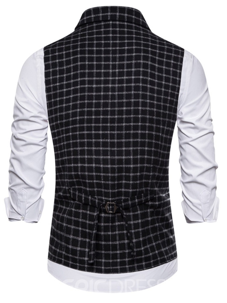 Ericdress Plaid Print Notched Lapel Fashion Men's Single-Breasted Waistcoat