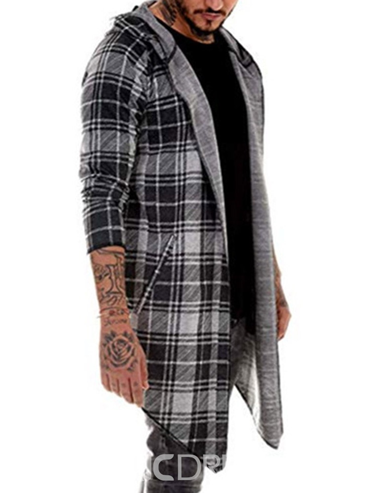 Ericdress Plaid Mid-Length Single Wrapped Men's Trench Coat