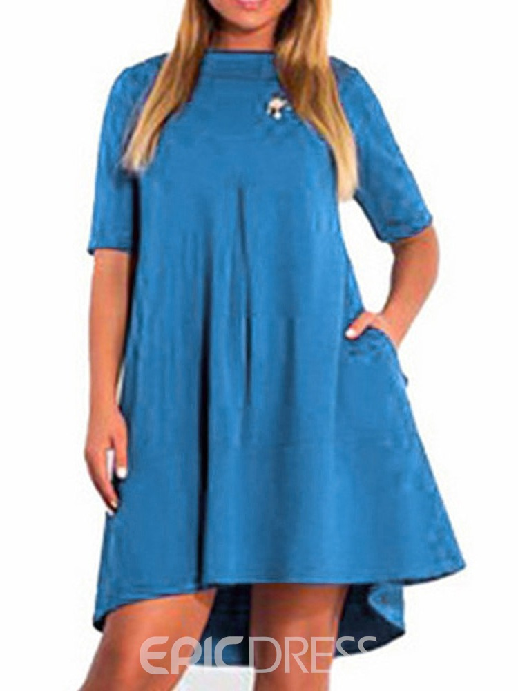 Ericdress Plus Size Casual Pocket Plain Above Knee Round Neck Dress