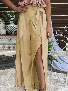 Ericdress Loose Plain Split Full Length Wide Legs Casual Pants