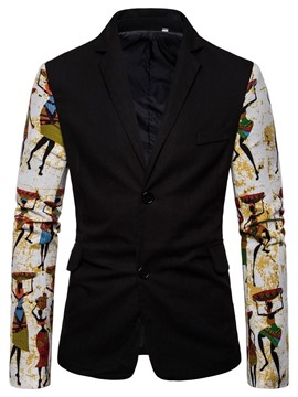 Ericdress Slim Single-Breasted Color Block Men's leisure Blazer
