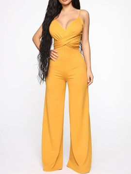 Ericdress Full Length Strap Plain Zipper Wide Legs Loose Jumpsuit