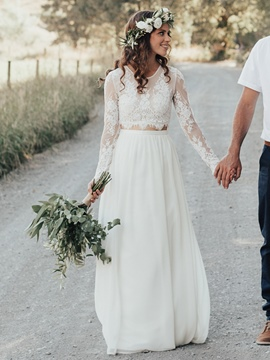 Ericdress 2 Pieces Button Lace Country Wedding Dress 2019