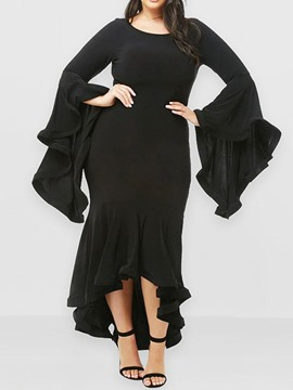 Ericdress Plus Size Round Neck Ankle-Length Flare Sleeve Mid Waist Pullover Dress