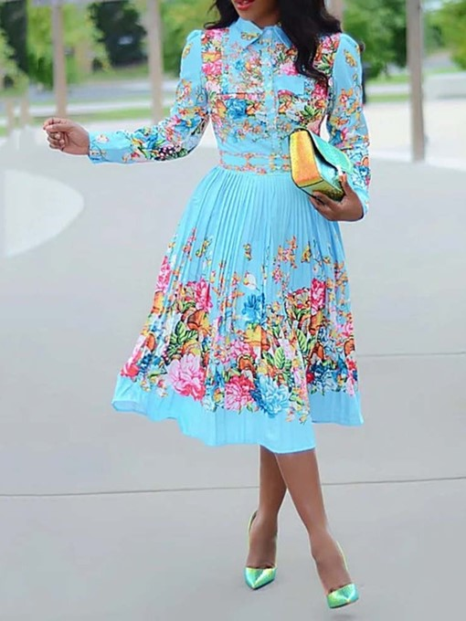 Ericdress Pleated Print Long Sleeve Mid-Calf Lapel Standard-Waist Pullover Dress