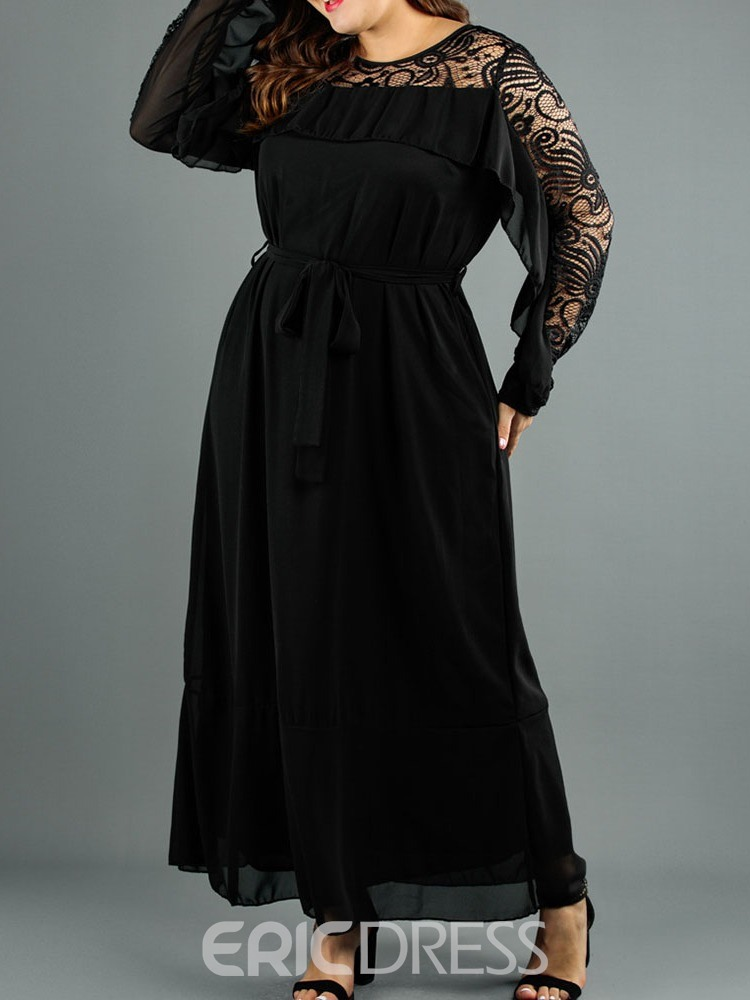 Ericdress Plus Size Round Neck Patchwork Long Sleeve Pullover Regular Dress