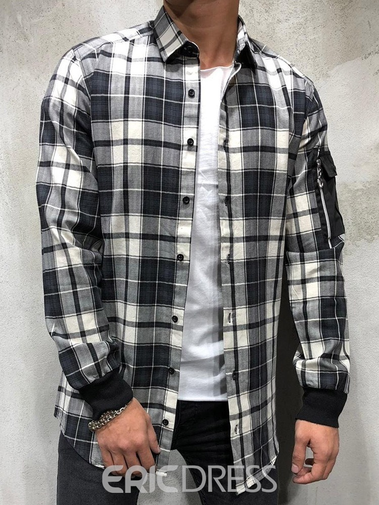 Ericdress Plaid Print Lapel Men's Loose Shirt