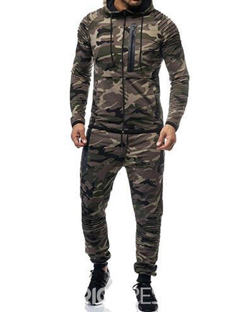 Ericdress Pocket Casual Camouflage Men's Sport Outfit