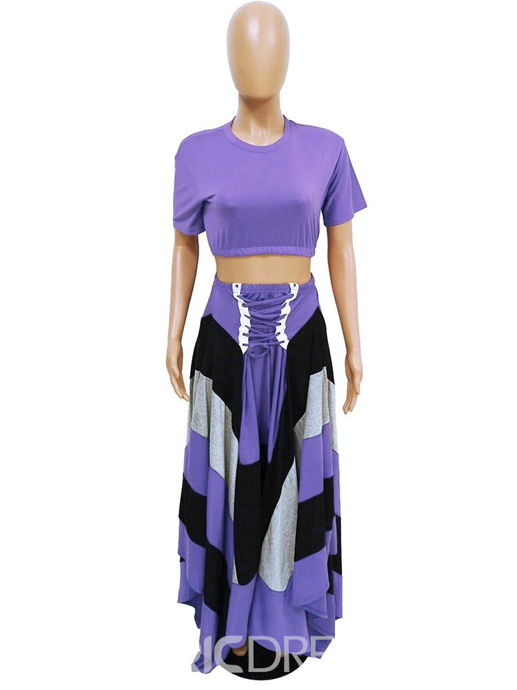 Ericdress Ankle-Length Color Block Pullover Round Neck Two Piece Sets