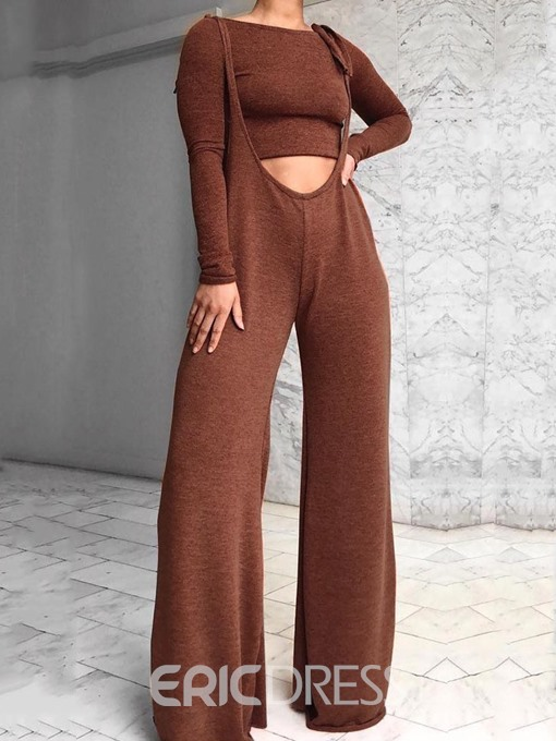Ericdress Plain Fashion Pullover Round Neck Two Piece Sets