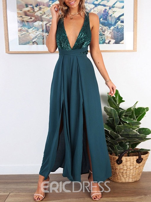 Ericdress Sexy Lace-Up Full Length Loose Wide Legs Jumpsuit