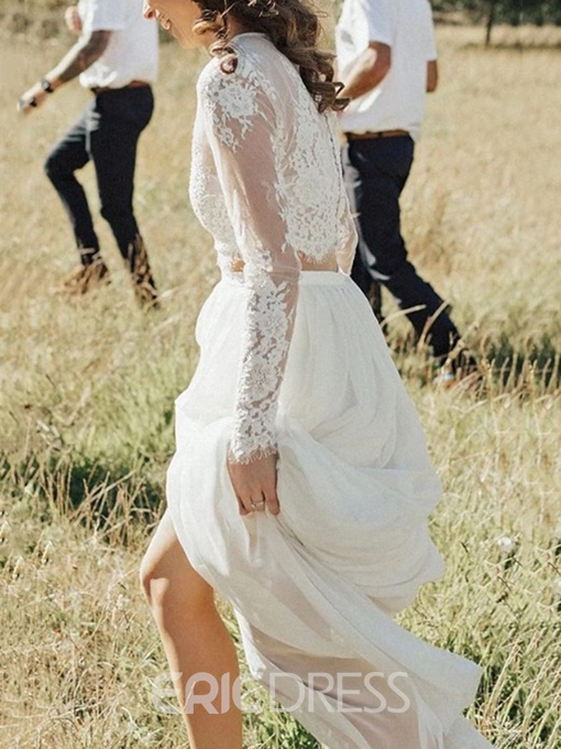 Ericdress 2 Pieces Button Lace Country Wedding Dress