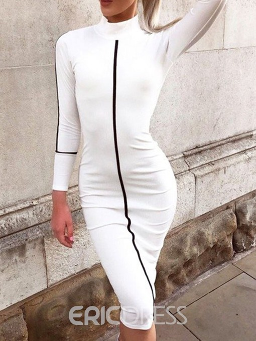 Ericdress Long Sleeve Turtleneck Print Pencil Fashion Dress