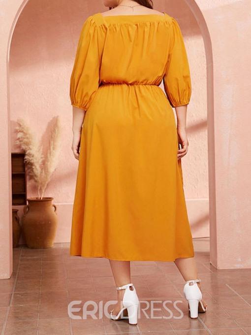 Ericdress Plus Size Square Neck Mid-Calf Pleated Summer Pullover Dress