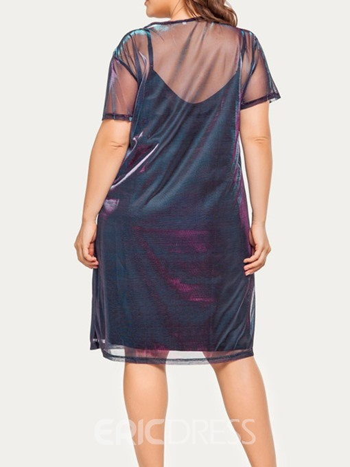 Ericdress Plus Size Knee-Length Round Neck Mesh A-Line Mesh Dress