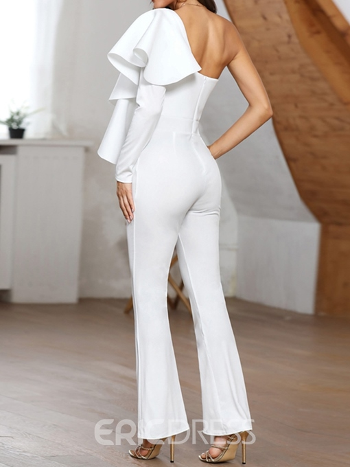 Ericdress Asymmetric Plain Fashion Slim Bellbottoms Jumpsuit