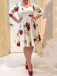 Ericdress Plus Size Floral Print Mid-Calf A-Line Sweet Dress фото
