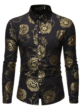 Ericdress Casual Lapel Print Men's Slim Shirt