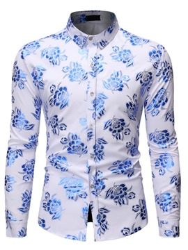 Ericdress Color Block Print Button Lapel Men's Slim Shirt